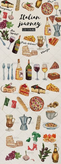 BIG BUNDLE of watercolor icons by Print Digital Art on Creative Market - Expolore the best and the special ideas about Italian wine Watercolor Food, Watercolor Design, Watercolor And Ink, Clipart, Italy Illustration, Pencil Illustration, Italian Wine, Italian Lunch, Italian Grill