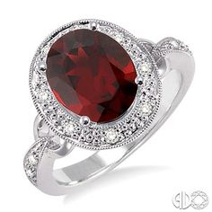 10x8mm Oval Cut Garnet and 1/6 Ctw Round Cut Diamond Ring in 14K White Gold