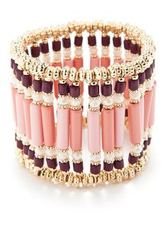 New Directions® Gold-Tone Coral Glow Wide Beaded Bracelet