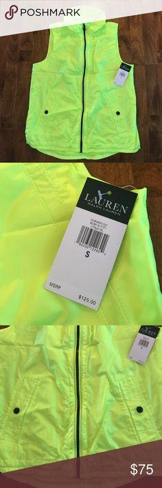 Lauren Ralph Lauren Active vest neon Citrus yellow Nwt very bright neon yellow, it is brighter than it appears in photos. Lauren Ralph Lauren Jackets & Coats Vests