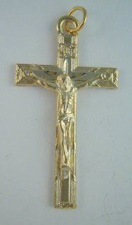 """Pewter Crucifix - Gold Plated size: 1 3/4"""""""