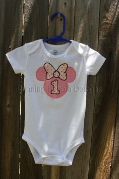 Baby Girl First Birthday Minnie Mouse by RunningBobbinDesigns, $17.95