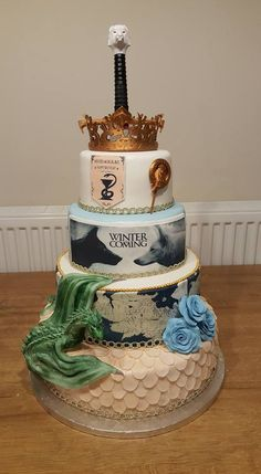Game of Thrones cake with 3D printed topper