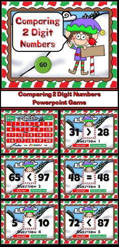 Practice comparing numbers with this fun Elf themed powerpoint game. Students are comparing 2 digit numbers using the greater than, less than, and equal to sign. This is a Teacher vs Student game, which makes it even more fun!