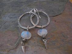 Sterling Silver Hoop Earrings with Rainbow by StrawberryFrog, $49.00