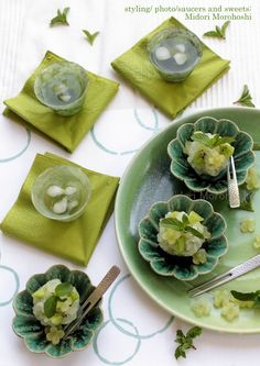 Japanese Sweets with Matcha and Mint 山あじさい