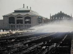 1940s ASBURY PARK vintage photo CASINO Boardwalk Fire CLOSE UP