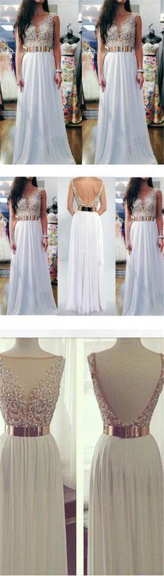 white prom dress, long prom dress, prom dress 2016, sparkle prom dress, v-neck prom dress, BD14325