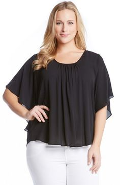 Karen Kane Angel Sleeve Top (Plus Size)