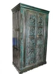 Green Patina Armoire, Wooden Armoire, Antique Armoire
