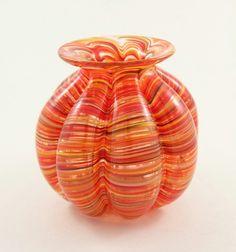 Beautiful orange and yellow handblown glass vase.