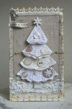 Burlap Christmas Card This would be beautiful in a frame setting on an end table at Christmas time. Homemade Christmas Cards, Burlap Christmas, Christmas Tag, Christmas Projects, Handmade Christmas, Homemade Cards, Christmas Decorations, Christmas Ornaments, Paper Christmas Trees