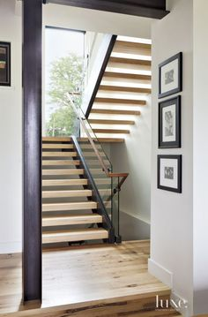 Contemporary White Staircase with Hickory Treads