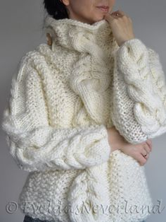 Paula's Sweater - hand knit one of a kind cable texture winter sweater in natural cream by Evelda's Neverland, Etsy