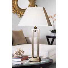 Uttermost Conrad Metal Table Lamp Contemporary Table Lamps, Metal Table Lamps, Fabric Shades, White Fabrics, Family Room, Bulb, Lighting, Furniture, Design