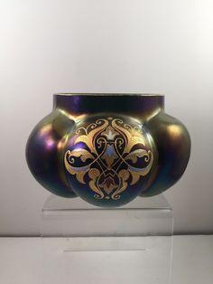 JOSEPHINE GLASS WORKS ENAMELED JUGENDSTIL ART GLASS BOWL/VASE LOETZ ERA ca. 1900