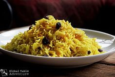 Geelrys: South Africa spiced yellow rice with raisins.