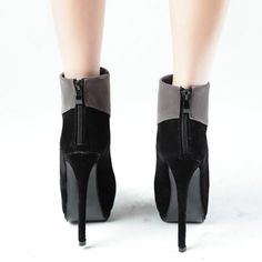 Suede Stiletto Zippered Ankle Boots
