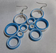 Turquoise and White Medium Earrings Circle Fun by RheasOriginals