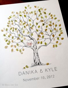 Some awesome friends of mine created this awesome guestbook ideas for weddings and family events ~ Alternative guest book, fingerprint olive tree from BDT handmade