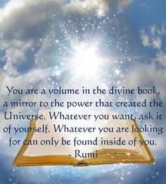 You are a volume in the divine book, a mirror to the power that created the Universe. Whatever you want, ask it of yourself. Whatever you are looking for can only be found inside of you. - Rumi