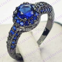 Black Gold Filled Blue Sapphire Ring Lady's 10KT Finger Rings For Women Jewelry Size 6/7/8/9/10 Wholesale Retail F2645 649-in Rings from Jewelry on Aliexpress.com   Alibaba Group