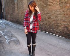 rainy day outfit: plaid, stripes and hunter boots