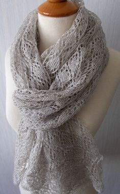Linen Scarf Knit Shawl  Natural Summer Wrap in Light by LaimaShop