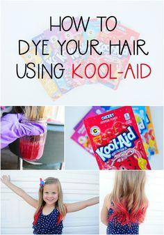 to dye your hair using kool-aid! How to dye your hair using kool-aid!,How to dye your hair using kool-aid! Hair Dye For Kids, Kids Hair Color, Dying Your Hair, Temp Hair Color, Diy Hair Dye, Hair Dye Tips, How To Dye Hair, Up Dos, Dip Dye Hair