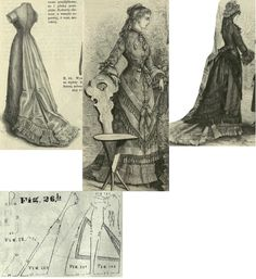 Tygodnik Mód 1876.: Summer dress in princess form; faille underdress with grenadine overdress trimmed with silk tapes and fringe; Fig. 24-28. patterns for the underdress, dotted lines mark he alterations required to the overdress.