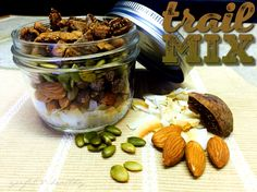 Homemade Trail Mix  is one of those healthy-perfect-easy snacks to grab when hunger hits you !    Combine nuts, seeds, dried fruit, sweets , grains, you got the idea , any of your favorite ingredients . It's the ideal snack for back-to-school or work when you're on the go !  I filled mine with dried figs, toasted coconut, pumpkin seeds, almonds and sugar free chocolate chips .