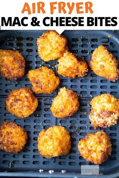 These Air Fried Mac and Cheese Balls are fried to perfection in the Air Fryer. A much healthier version of your favorite mac and cheese appetizer. meals no cheese Air Fried Macaroni and Cheese Balls - My Forking Life Air Fryer Oven Recipes, Air Frier Recipes, Air Fryer Dinner Recipes, Air Fryer Recipes Mac And Cheese, Easy Baked Mac And Cheese Recipe, Air Fryer Recipes Appetizers, Air Fryer Recipes Vegetarian, Fried Macaroni And Cheese, Queso Frito