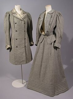 Grey wool tweed coat and walking suit with cream silk lining and ribbon trim, by Samson, British (London), c. 1907. Worn by Maud Messel.