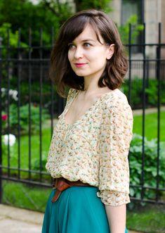 {Leifsdottir blouse, thrifted skirt, Franco Sarto sandals, Margot handbag, JCrew necklace, Fossil belt}