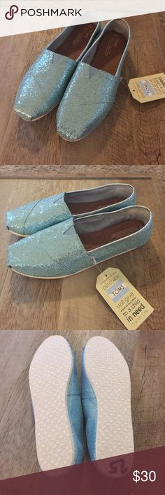 • blue glitter toms • New with tags. Never worn. TOMS Shoes Flats & Loafers