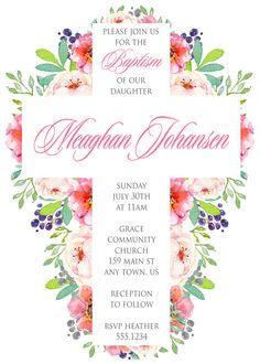Invitación de bautizo Floral acuarela por inglishdigidesign en Etsy