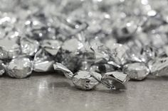 Felix Gonzalez-Torres, Untitled (Placebo), installation of candies individually wrapped in silver cellophane, 1991.  Currently on display at the MoMA, 2012.