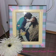 ♥♥ Custom Designed Solid Oak Pastel Checked Heart Motif Photo Frame ♥♥