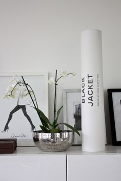 homevialaura | white orchid  | Alessi Amfitheatrof bowl | Karl Lagerfeld, The Black Jacket poster | Garance Dore, My Cape poster