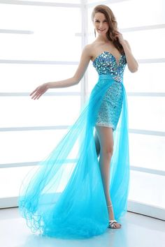Sparkle Sweetheart Tulle Crystal Beaded Blue High Low 2 Piece Prom Dresses.jpg (800×1200)