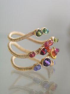 Multi Gemstone Gold Layered Ring Colorful Wire por bellajewelsII