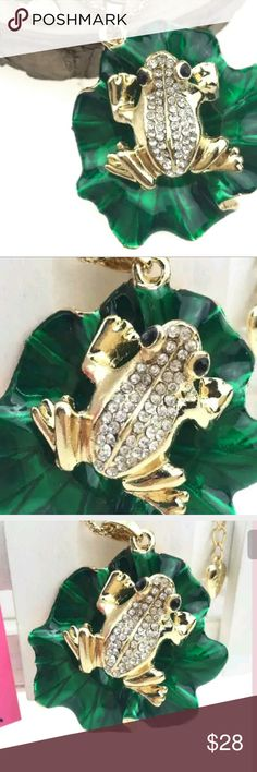 New Betsey Johnson frog on a lotus leaf New gold frog with rhinestones sitting on a green lotus leaf frog looks three dimensional.  See last pic for size  Comes with the necklace also Betsey Johnson Jewelry Necklaces