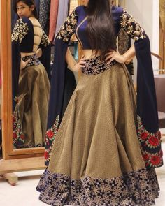Soak in the colors with this elegant,evening party dress. Choli Designs, Lehenga Designs, Blouse Designs, Pakistani Dresses, Indian Dresses, Indian Outfits, Indian Attire, Indian Wear, Indian Designer Wear