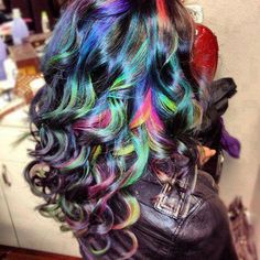 curly rainbow hair color....pretty cool! I could never do it!