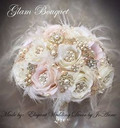 62 Ideas Wedding Decorations Elegant Vintage Style For 2019 Gold Bouquet, Broschen Bouquets, Feather Bouquet, Wedding Brooch Bouquets, Silk Flower Bouquets, Flower Bouquet Wedding, Floral Wedding, Broach Bouquet, Marie