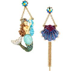 Betsey Johnson Into The Blue Mermaid Seashell Earring (€49) ❤ liked on Polyvore featuring jewelry, earrings, multi, stud earrings, pandora jewelry, seashell earrings, blue stud earrings and betsey johnson jewelry