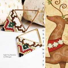Earring Tutorial, Rose Jewelry, Beaded Jewelry, Bead Crafts, Jewelry Crafts, Diy Christmas Earrings, Drops Patterns, Beading Needles, Stud Earrings