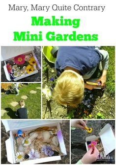 Making Mary Mary Quite Contrary Mini Gardens with your kids is a great way to get them excited about gardening and work their imaginations at the same time.