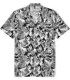 REISS Jamaica White Short Sleeve Leaf Print Shirt