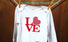 Valentine Onesie # applique # Seacliffe Cottage Designs  http://www.facebook.com/pages/House-of-Flower/111664702180256